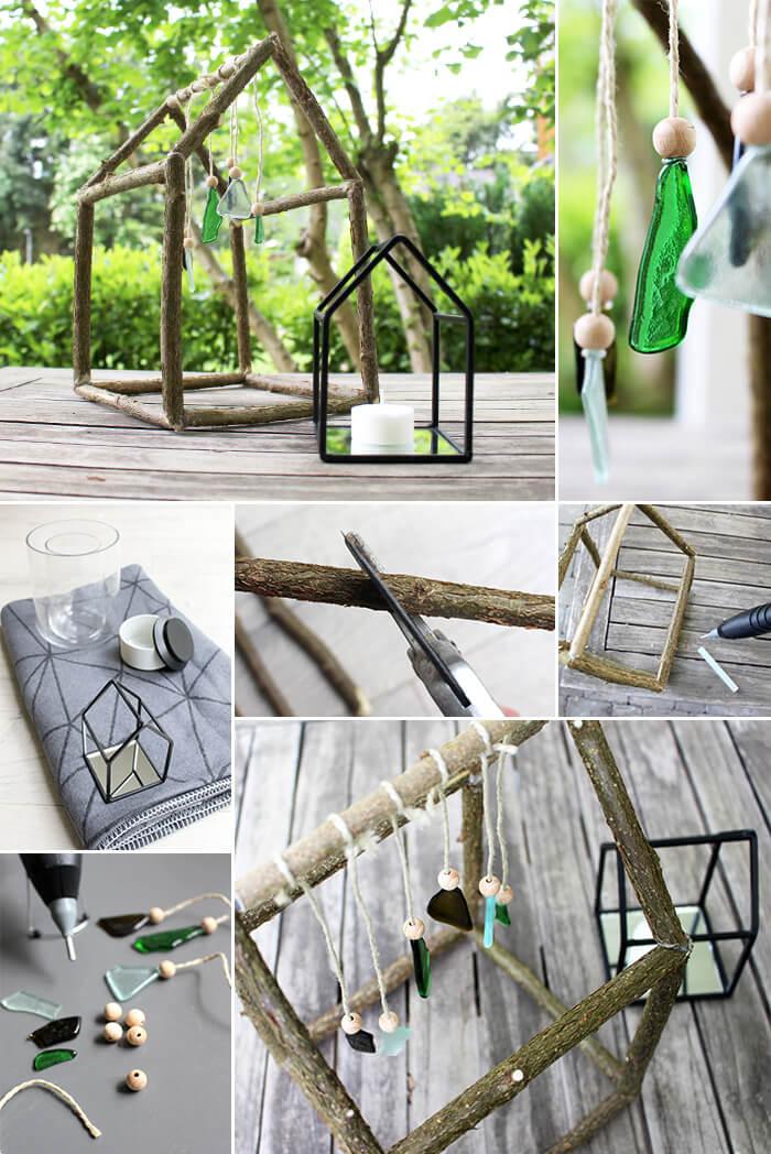 do it yourself windspiel aus zweigen und glas basteln. Black Bedroom Furniture Sets. Home Design Ideas