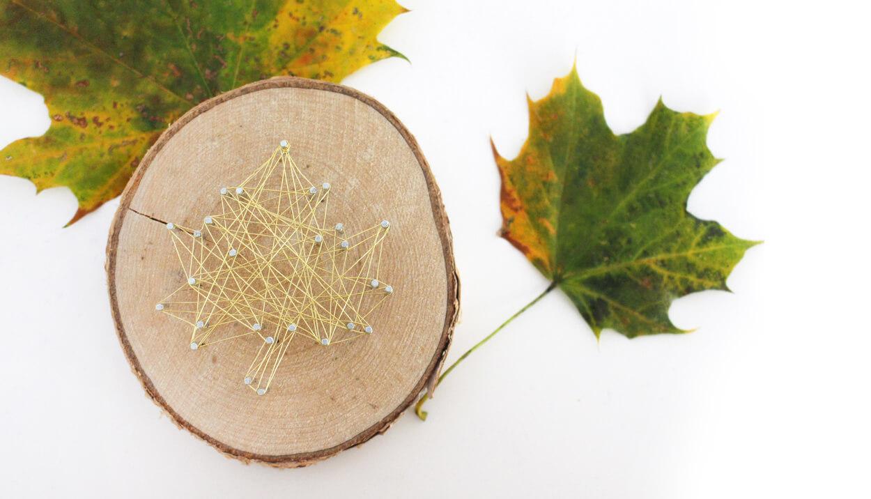 Do it yourself: Herbstdeko aus Holzscheiben und Draht basteln