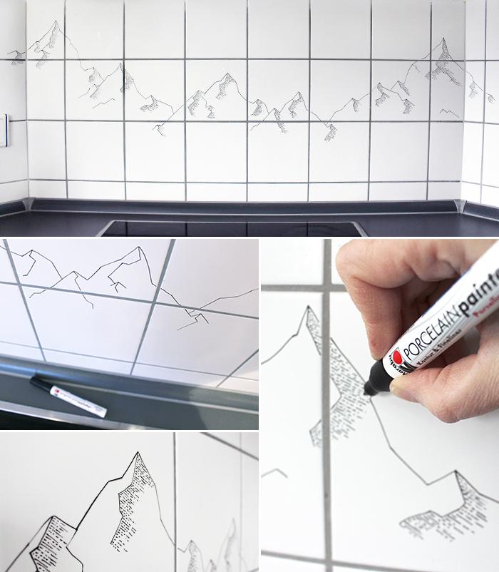 Neuer Fliesenspiegel mit Porzellanstift