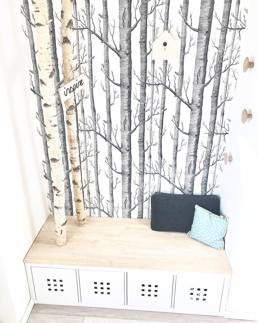 DIY Garderobe aus Birkenstämmen