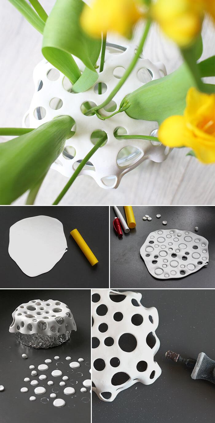 Hier findest du die Anleitung wie du aus Fimo einen Vasenaufsatz selbst baszeln kannst.