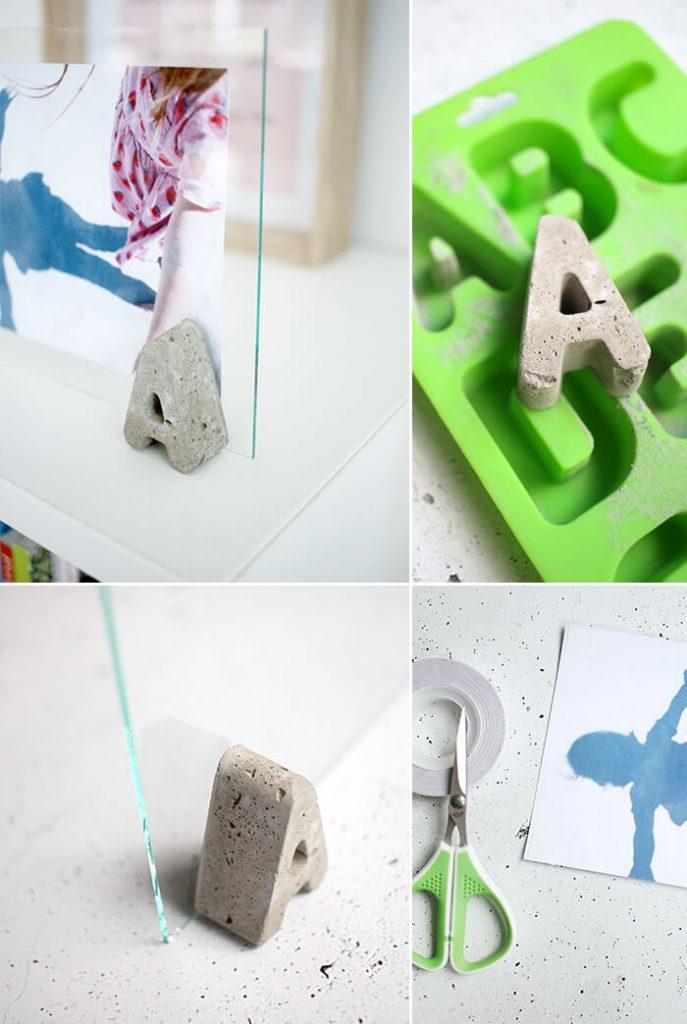 diy bilderrahmen aus betonbuchstaben und glasscheibe basteln. Black Bedroom Furniture Sets. Home Design Ideas