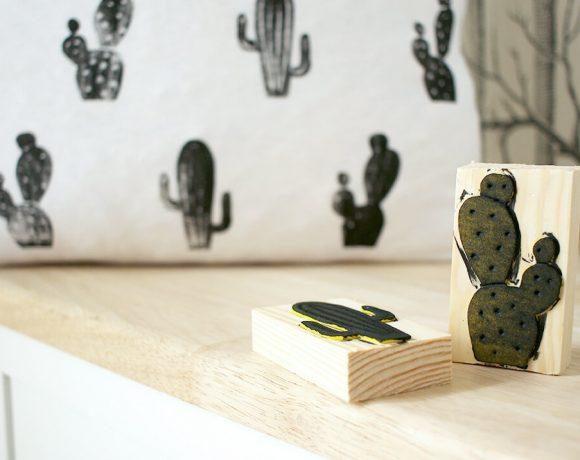 Kissen mit selbstgemachten Kakteen Stempeln bedrucken
