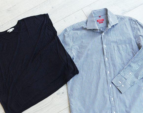 Kleid aus Hemd und Shirt nähen.