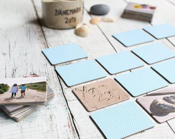 Urlaubserinnerungen im Glas, ein Foto Memory und ein Fotodruck auf Holz.