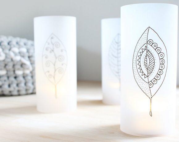 Herbstlichter mit Tranzparentpapier selbst gestalten