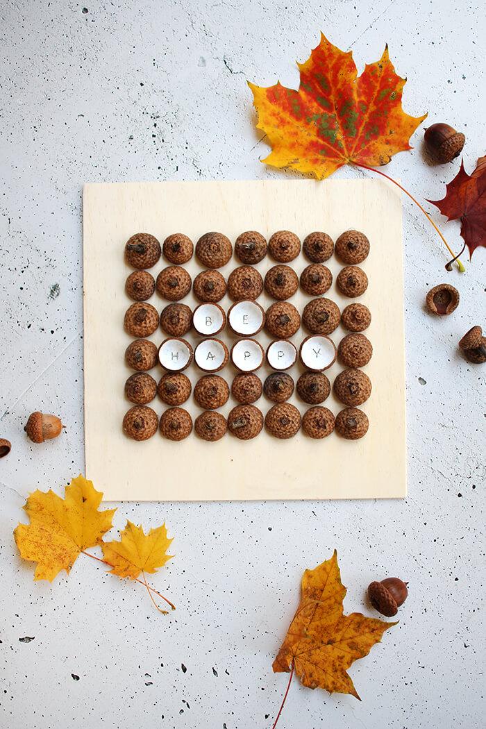 Schlichte Herbstdeko mit Eicheln selbst machen