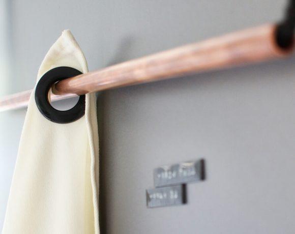 DIY Geschirrtuchhalter, Geschirrtuch mit Vorhangringen Gingered Things