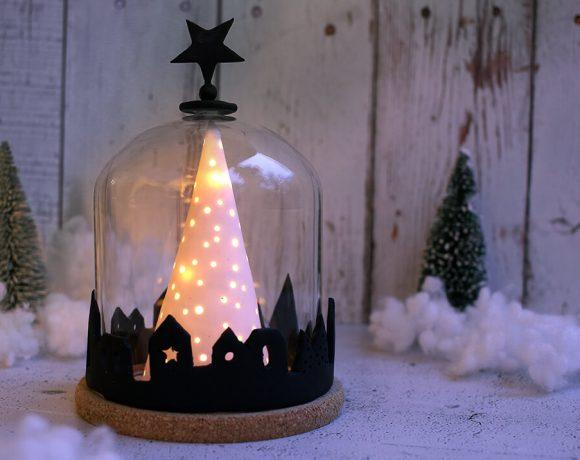Weihnachtsdeko aus Fimo mit beleuchtetem Baum