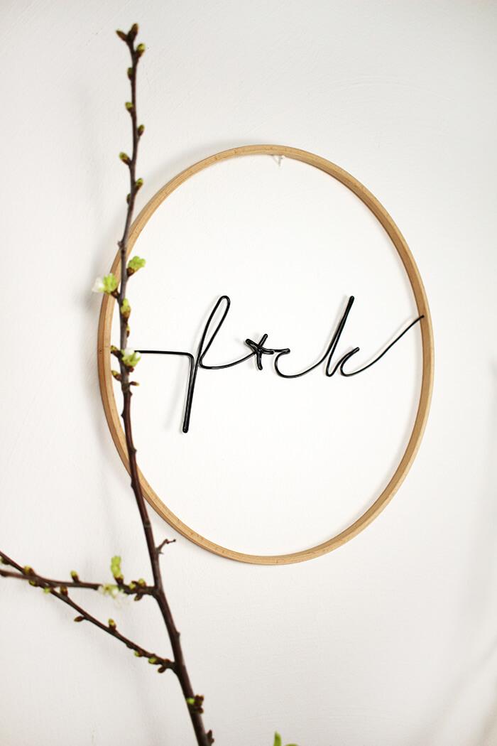 do it yourself lettering aus draht im stickrahmen basteln. Black Bedroom Furniture Sets. Home Design Ideas