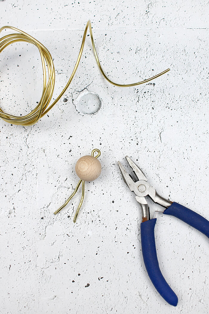 Griff mit holzkugel und Draht - DIY Dose selbst basteln