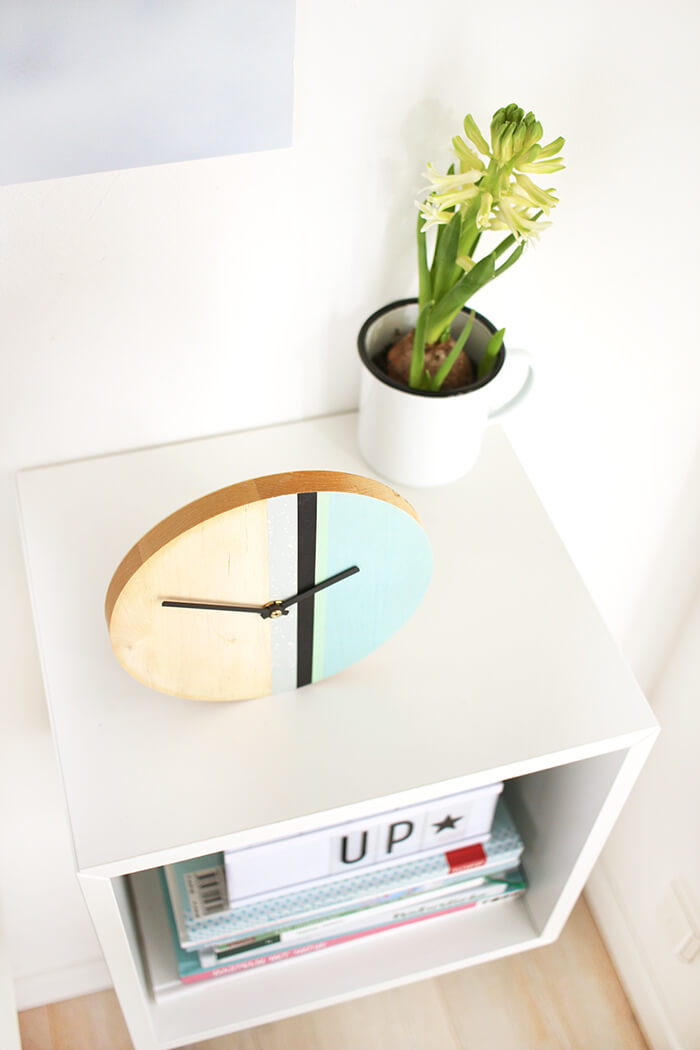 diy challenge upcycling mit washi tape eine uhr aus holz basteln. Black Bedroom Furniture Sets. Home Design Ideas