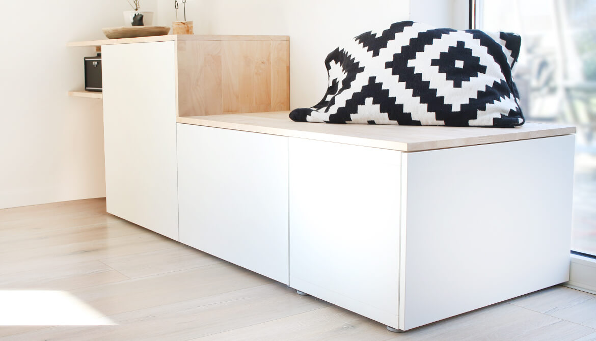 do it yourself aus besta und holz wird ein sideboard mit sitzbank. Black Bedroom Furniture Sets. Home Design Ideas