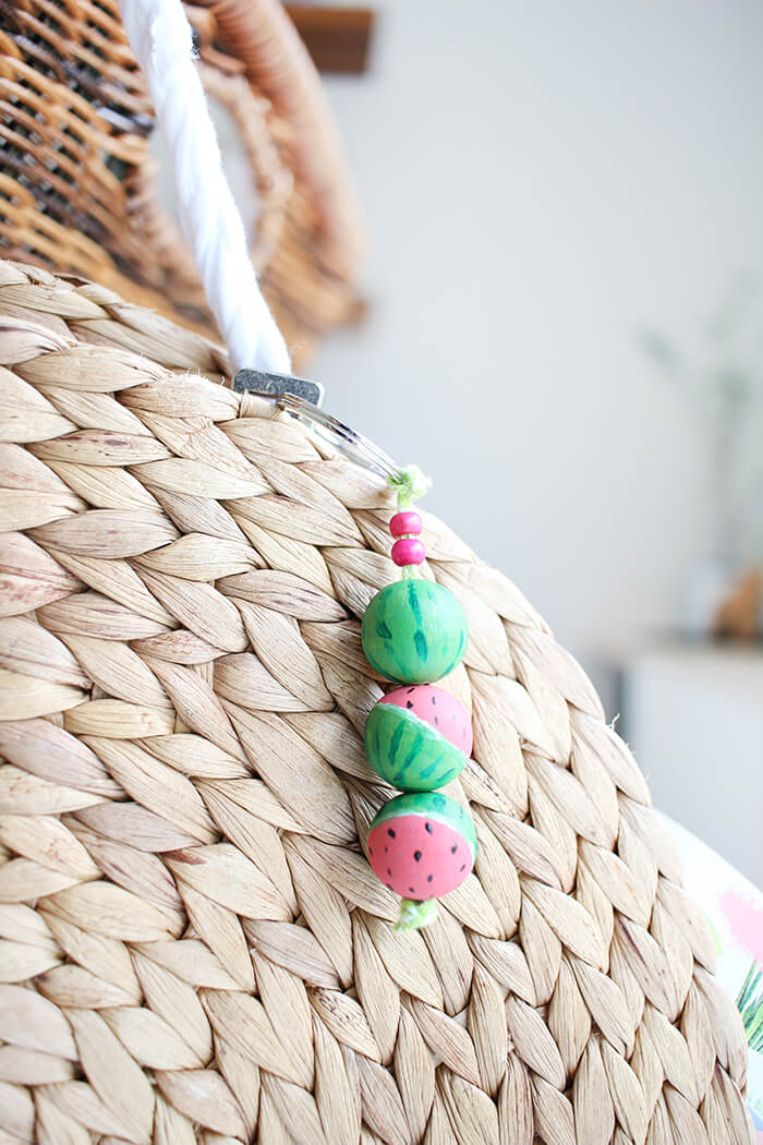 Wassermelonenschlüsselanhänger für Korbtasche aus Platzsets