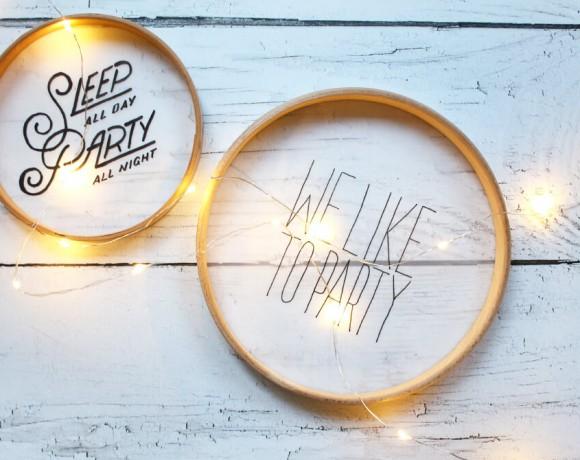 DIY mit Stickrahmen, Transparentpapier und Lettering als Tischdeko für Party, Hochzeit oder Geburtstag