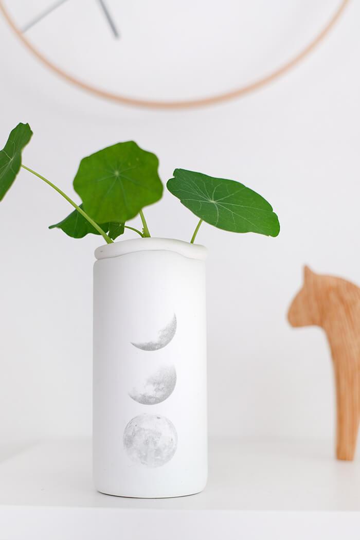 Vase auf Fimo bedruckt mit Laserdruck.