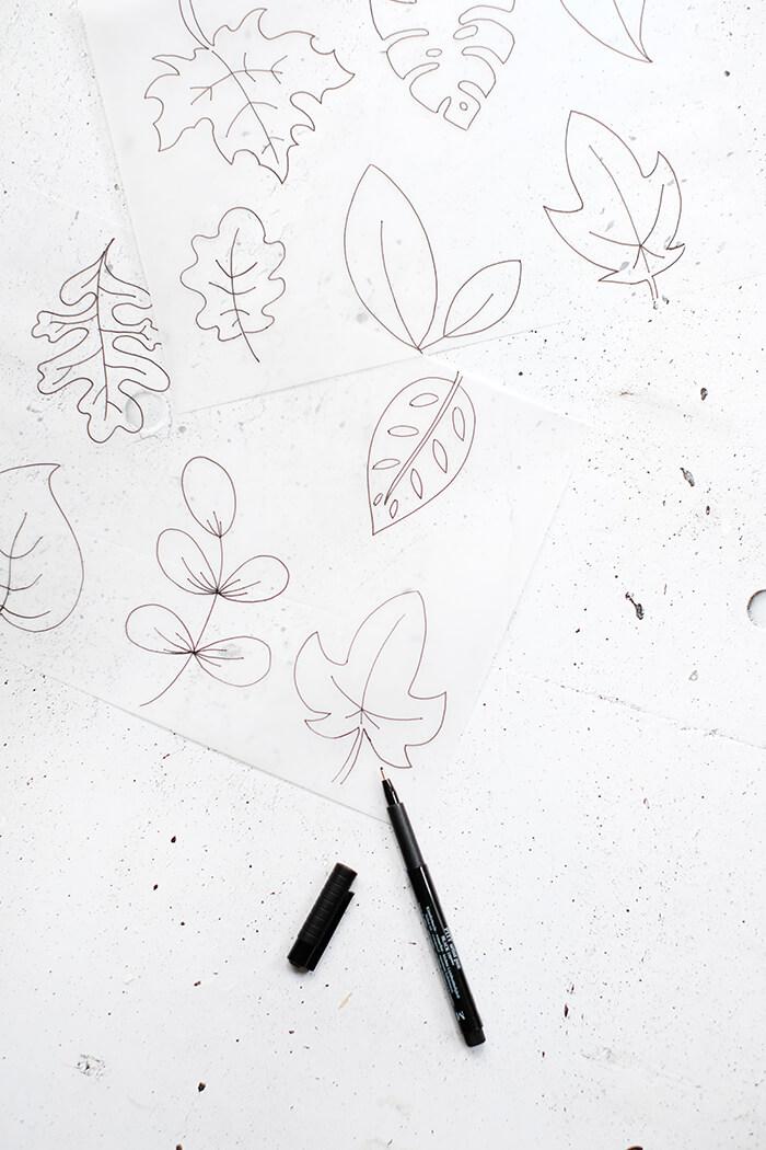 Blätter auf Transparentpapier zeichnen