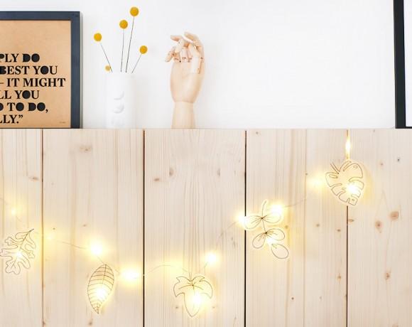 DIY Herbstdeko mit Lichterkette und Blätten aus Transparentpapier