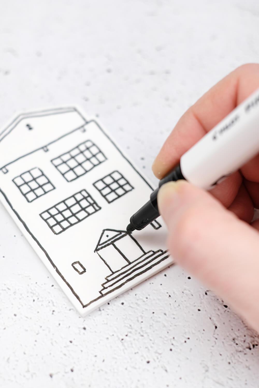 DIY Dekohäuschen und Duftverteiler aus Fimo - Details zeichnen