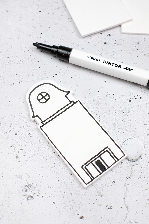 DIY Dekohäuschen und Duftverteiler aus Fimo - zeichnen