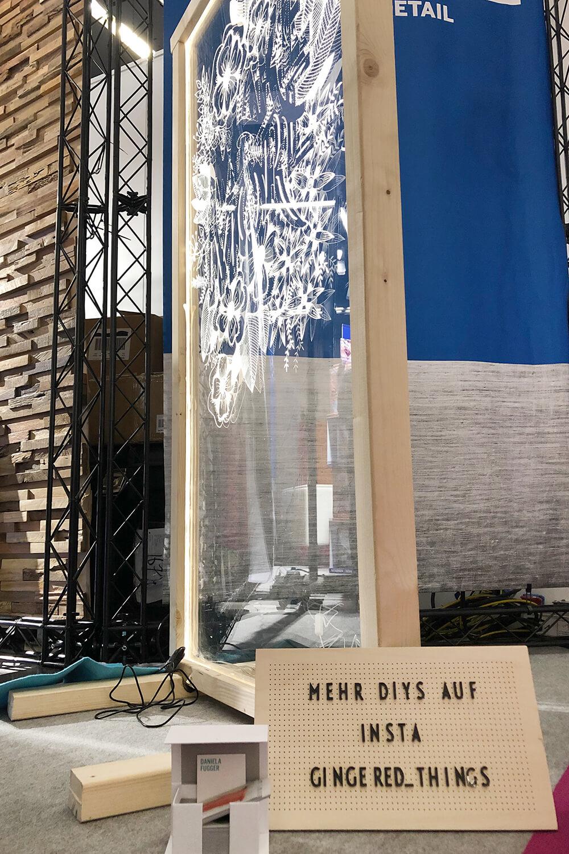 Acrylglaswand auf dem Stand von Dremel bei der Creativeworld 2019