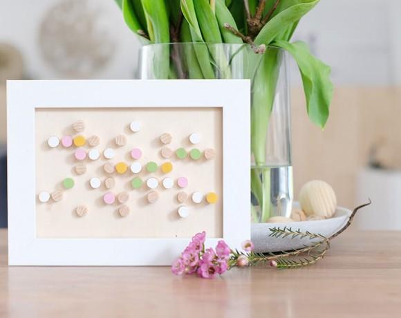 DIY Bild aus Rundhölzern von Gingered Things