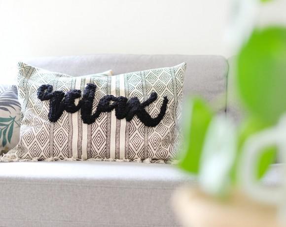 DIY Challenge, wie mit punch needling aus einem Teppich ein cooles Kissen wird