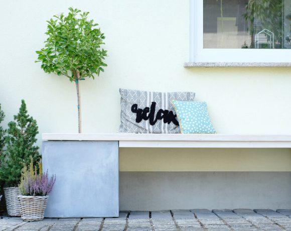 Gartenbank DIY aus BAudielen und Pflanzkübel von manomano - GIngered Things