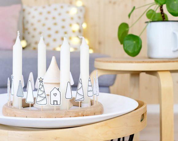 DIY Adventskranz und Adventskalender im schlichten Stil aus Stickrahmen - Gingered Things