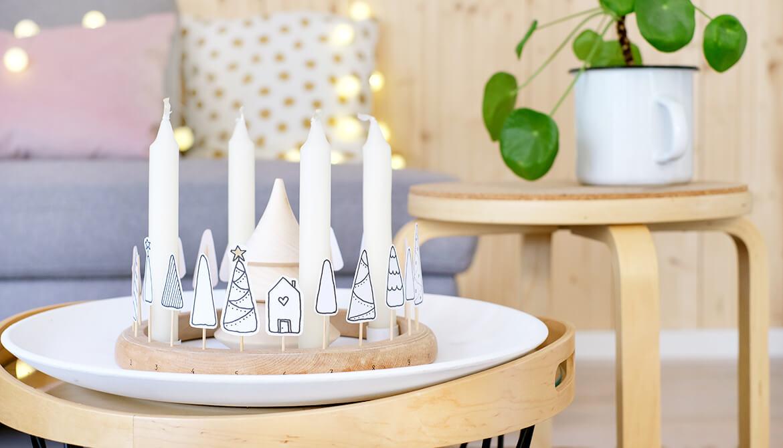 diy challenge upcycling adventskranz aus altem stickrahmen. Black Bedroom Furniture Sets. Home Design Ideas
