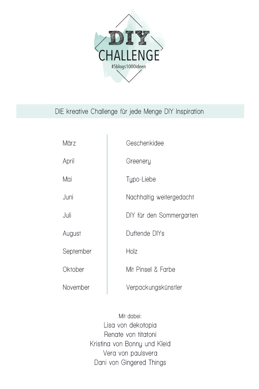DIY Challenge 2020 - Ideenliste für jeden Monat