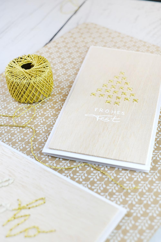 DIYnachten Türchen 13 - bestickte Weihnachtskarten mit dremel und Gingered Things